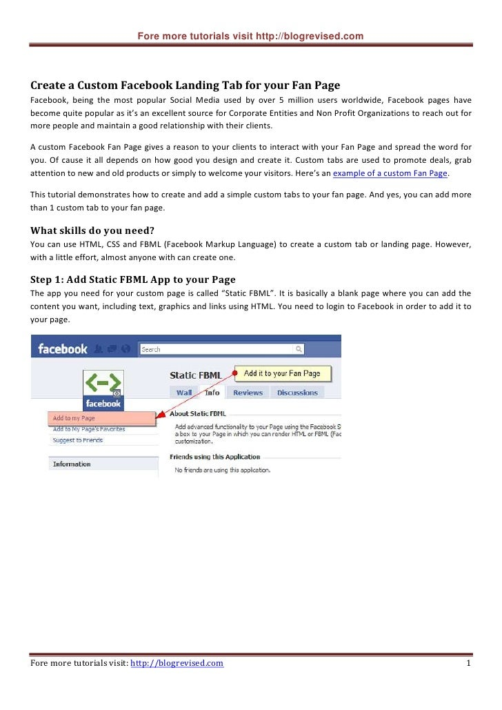 Fore more tutorials visit http://blogrevised.com    Create a Custom Facebook Landing Tab for your Fan Page Facebook, being...
