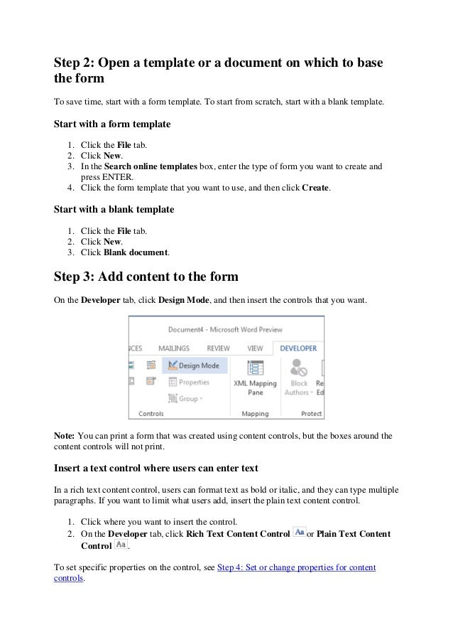 Create a fillable form in Microsoft Word
