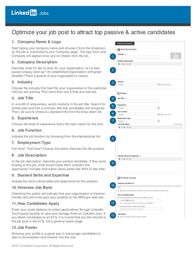 ©2013  LinkedIn  Corporation.  All  Rights  Reserved.   Jobs          Optimize your job post to a...