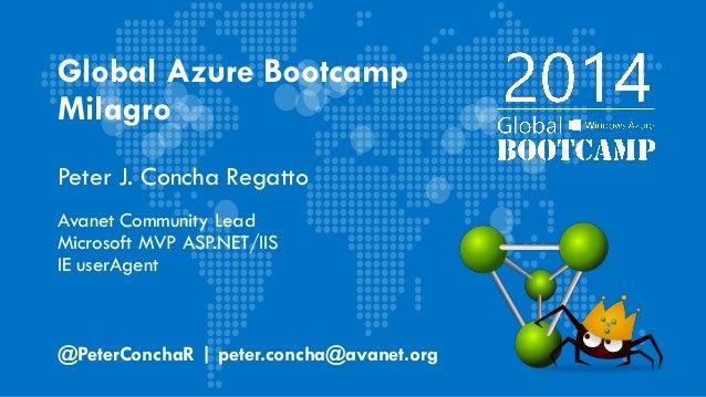Global Azure Bootcamp Milagro Peter J. Concha Regatto Avanet Community Lead Microsoft MVP ASP.NET/IIS IE userAgent @PeterC...