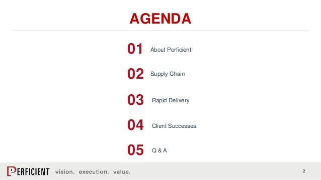 2 AGENDA Supply Chain Rapid Delivery 01 02 03 Q & A 04 About Perficient 05 Client Successes