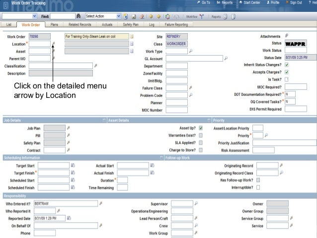 Create a new work order in Ibm Maximo