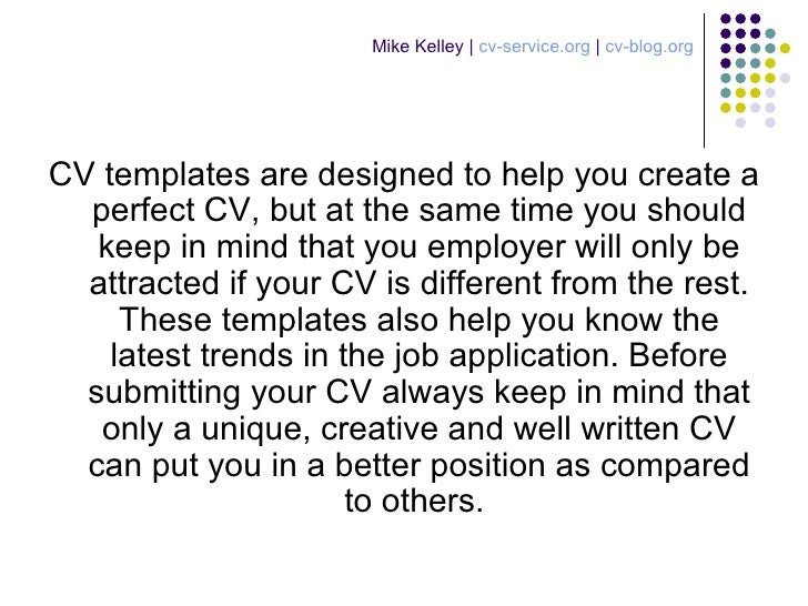 create an ideal resume with the help of cv templates