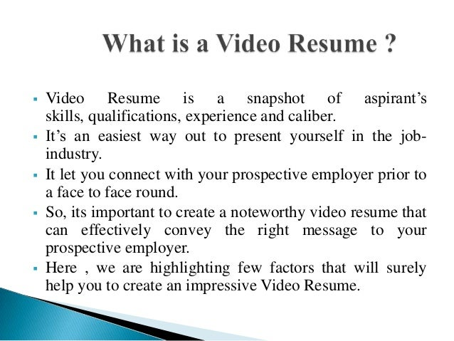 High Quality Video Resume Script In Video Resume Script