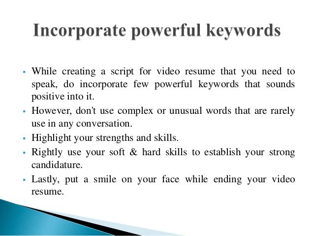 Https://image.slidesharecdn.com/createanoteworthyv...  Video Resume Script