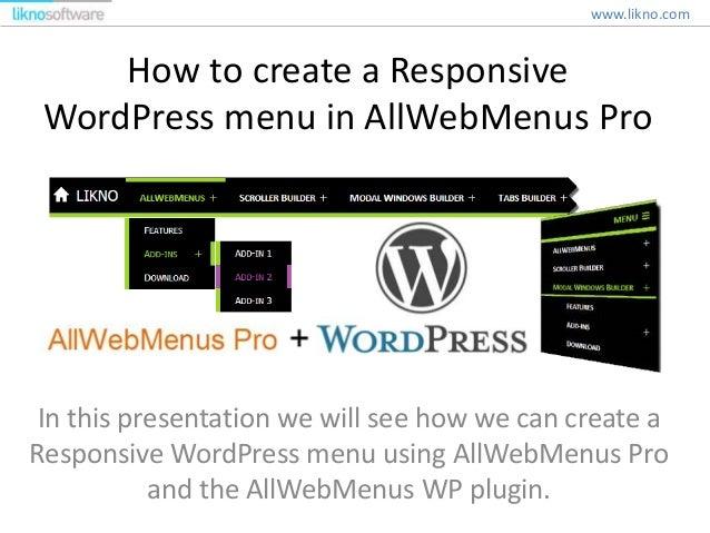 Create a Responsive WordPress menu in AllWebMenus Pro - 웹
