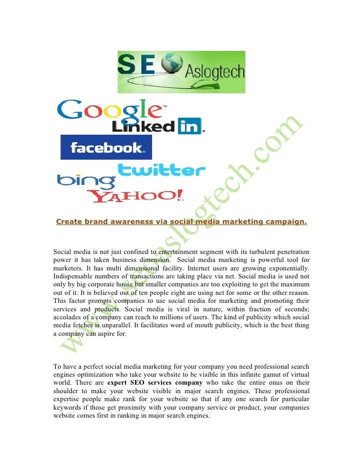 Create brand awareness via social media marketing campaign
