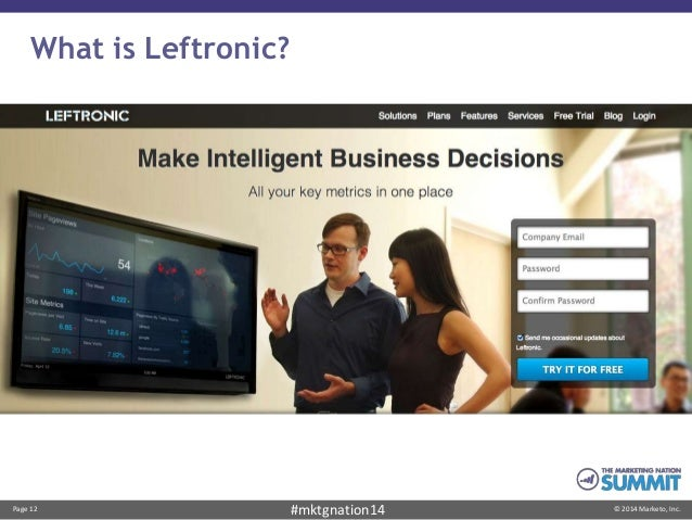 Page 12 © 2014 Marketo, Inc.#mktgnation14 What is Leftronic?