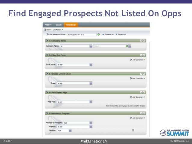 Page 18 © 2014 Marketo, Inc.#mktgnation14 Find Engaged Prospects Not Listed On Opps
