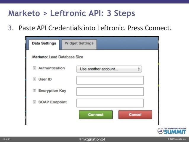 Page 34 © 2014 Marketo, Inc.#mktgnation14 Marketo > Leftronic API: 3 Steps 3. Paste API Credentials into Leftronic. Press ...