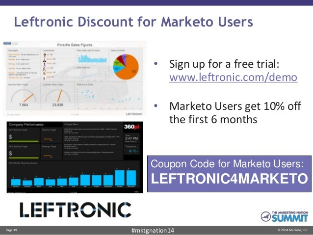 Page 39 © 2014 Marketo, Inc.#mktgnation14 Leftronic Discount for Marketo Users • Sign up for a free trial: www.leftronic.c...