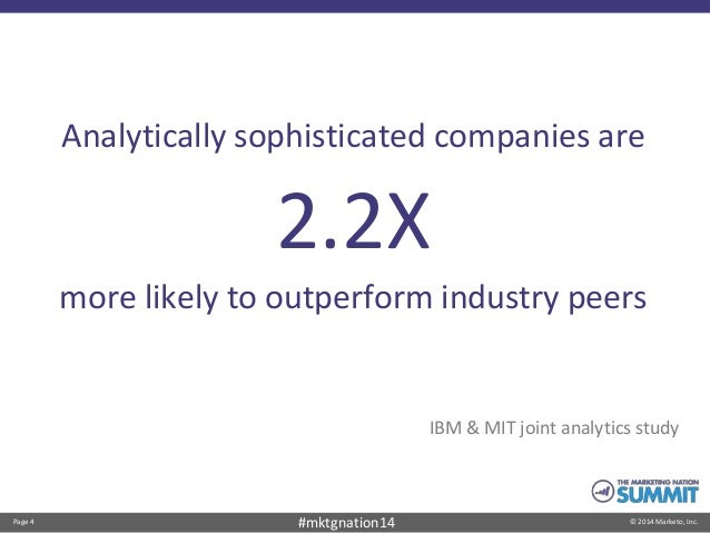 Page 4 © 2014 Marketo, Inc.#mktgnation14 Analytically sophisticated companies are 2.2X more likely to outperform industry ...