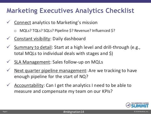 Page 6 © 2014 Marketo, Inc.#mktgnation14 Marketing Executives Analytics Checklist  Connect analytics to Marketing's missi...