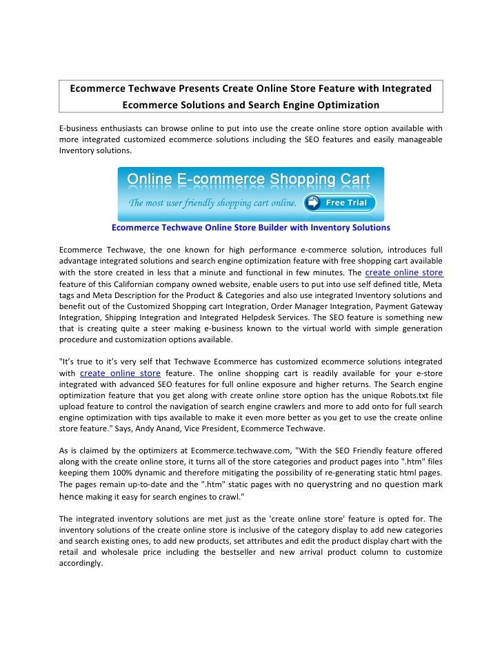 Ecommerce Techwave Presents Create Online Store Feature with Integrated            Ecommerce Solutions and Search Engine O...