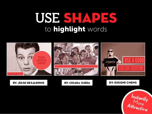USE SHAPES InstantlyMoreAttractive By: Jesse Desjardins By: Chiara Ojeda By: Eugene Cheng to highlight words