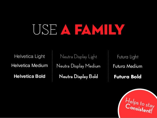 USE A FAMILY Neutra Display Light Neutra Display Bold Neutra Display Medium Helvetica Light Helvetica Bold Helvetica Mediu...