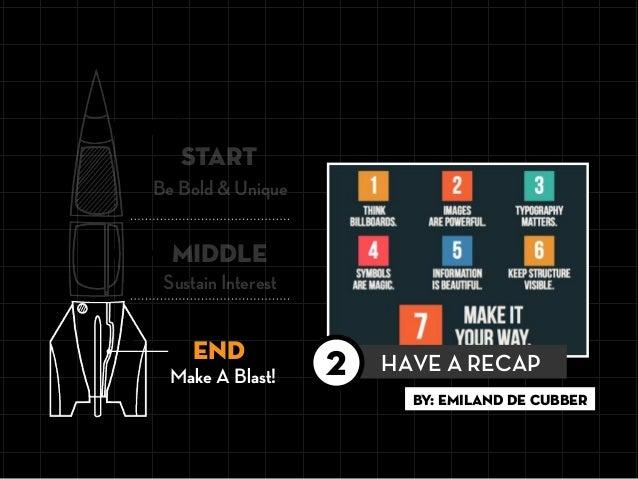 Be Bold & Unique START END MIDDLE Sustain Interest By: EMILAND DE CUBBER HAVE A RECAP2Make A Blast!
