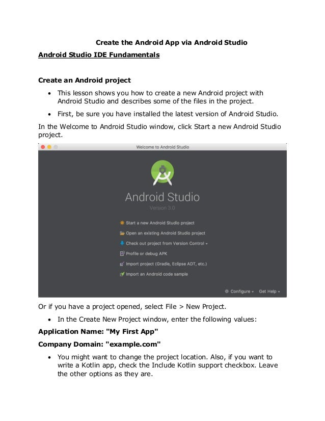 Create the Android Apps via Android Studio