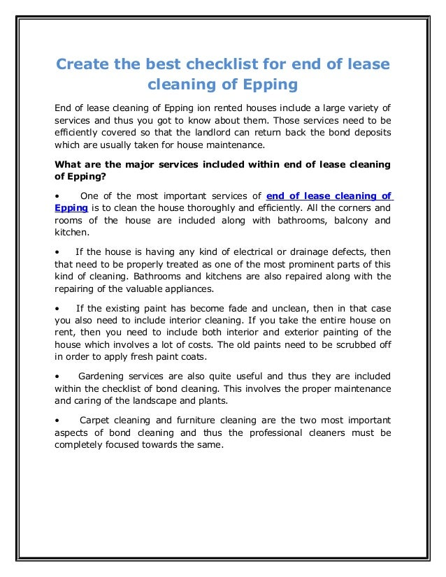 Create the best checklist for end of lease cleaning of epping