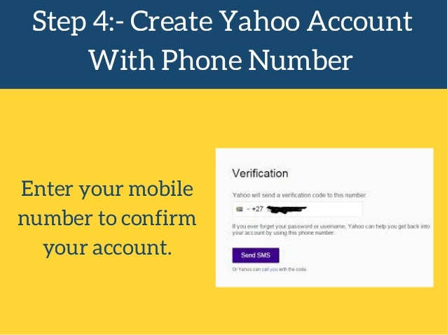 create a yahoo account without a mobile phone number