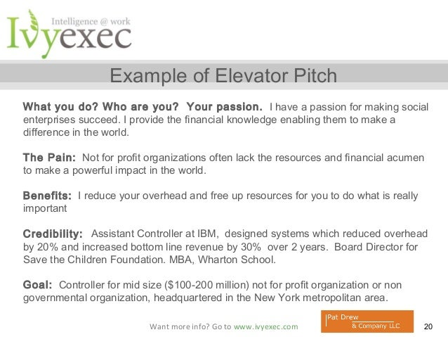 Create Your Elevator Pitch - Pat Drew and Ivy Exec