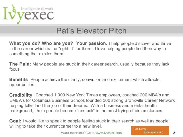 Elevator Pitch For Job Seekers