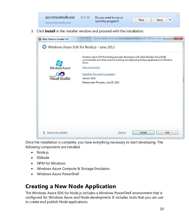 Create your first application node js and windows azure