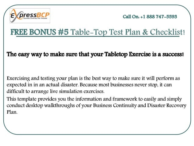Business continuity tabletop exercise template