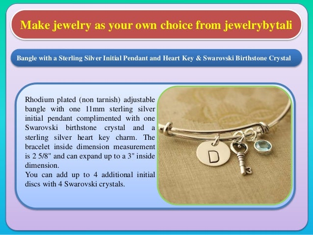 Make jewelry as your own choice from jewelrybytali Rhodium plated (non tarnish) adjustable bangle with one 11mm sterling s...