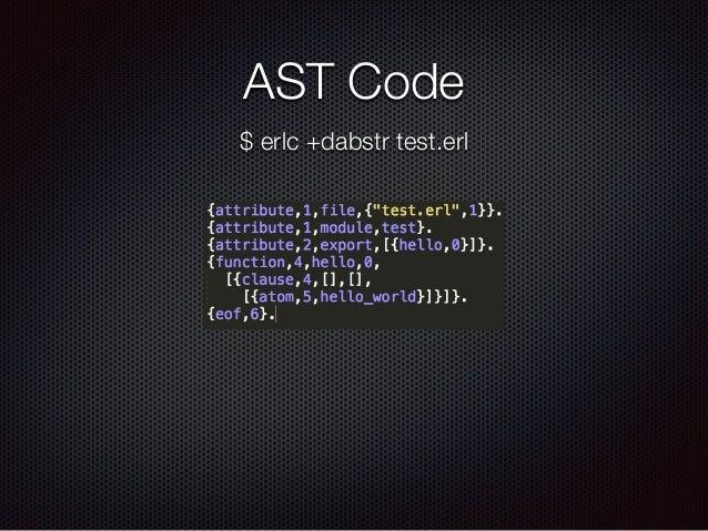 AST Code $ erlc +dabstr test.erl