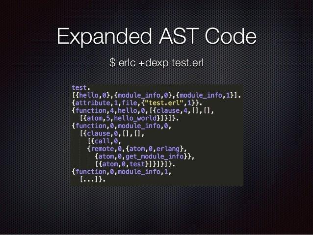 Expanded AST Code $ erlc +dexp test.erl