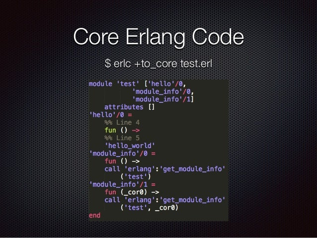Core Erlang Code $ erlc +to_core test.erl
