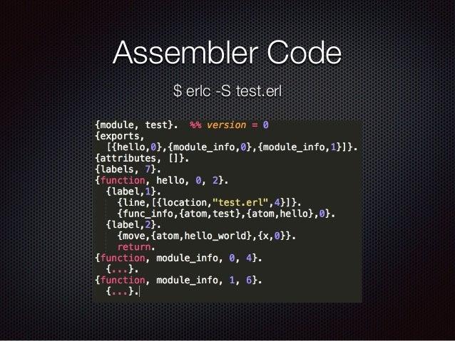 Assembler Code $ erlc -S test.erl