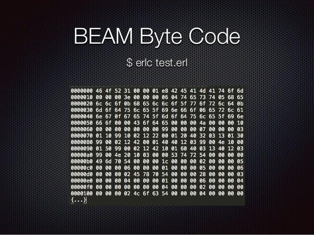 BEAM Byte Code $ erlc test.erl