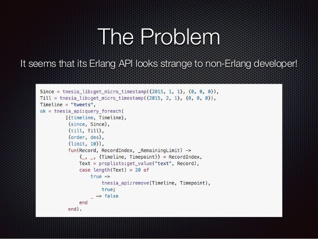 The Problem It seems that its Erlang API looks strange to non-Erlang developer!