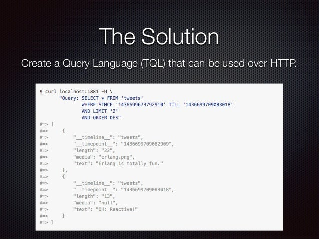 The Solution Create a Query Language (TQL) that can be used over HTTP.