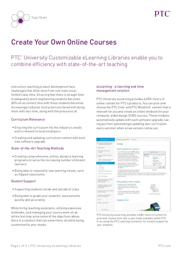 PTC.comPage 1 of 3 | PTC University eLearning Libraries Create Your Own Online Courses PTC ® University Customizable eLear...