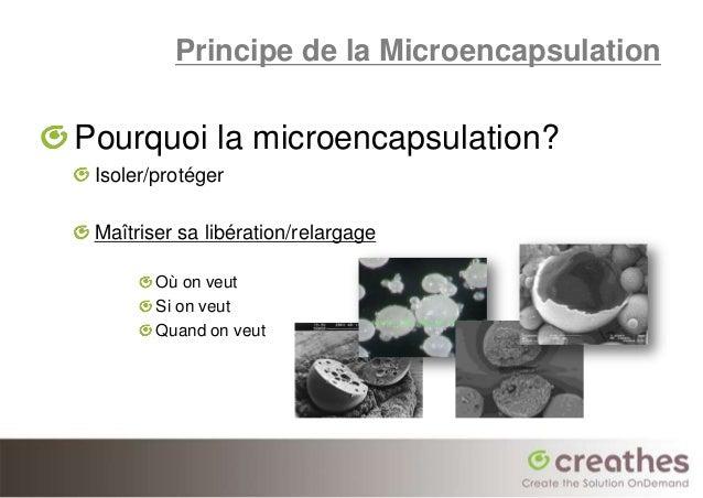 Principe de la MicroencapsulationPourquoi la microencapsulation? Isoler/protéger Maîtriser sa libération/relargage        ...