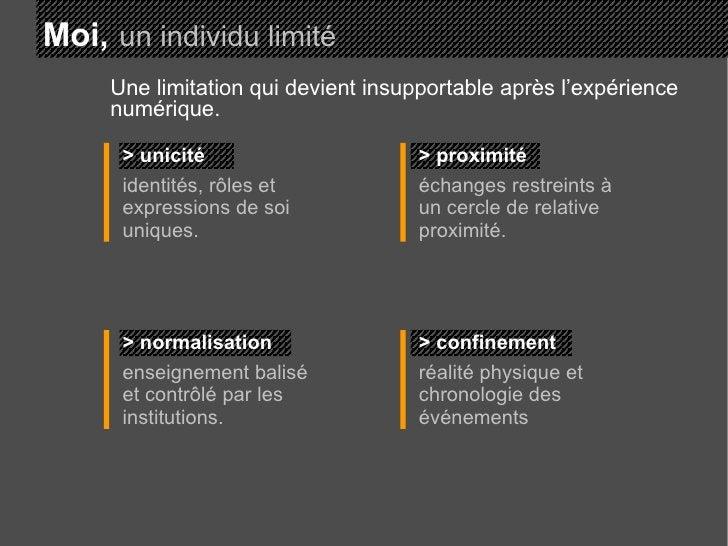 Moi,   un individu limité > unicité identités, rôles et expressions de soi uniques. > proximité échanges restreints à un c...