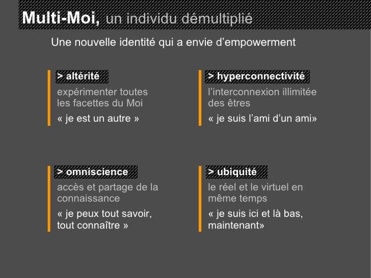 Multi-Moi,   un individu démultiplié > altérité expérimenter toutes les facettes du Moi «je est un autre» > hyperconnect...