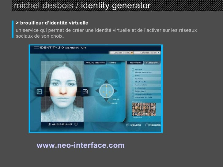 michel desbois /  identity generator > brouilleur d'identité virtuelle un service qui permet de créer une identité virtuel...