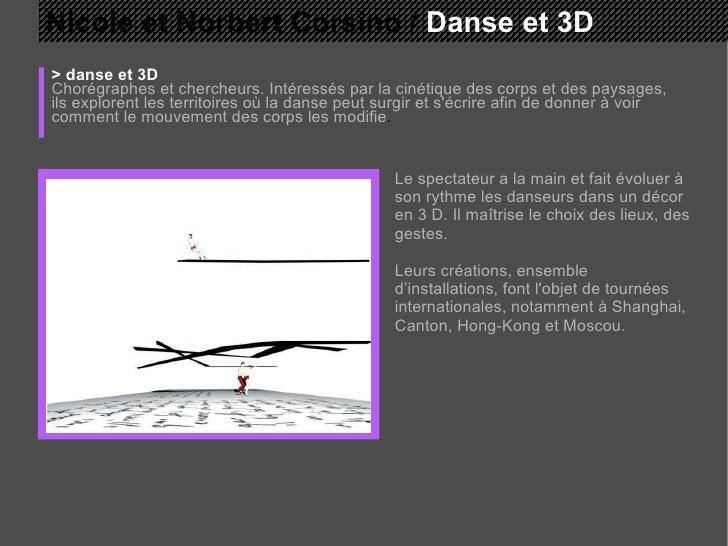 Nicole et Norbert Corsino /  Danse et 3D > danse et 3D Chorégraphes et chercheurs. Intéressés par la cinétique des corps e...