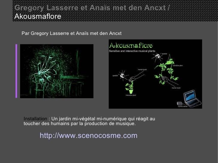Gregory Lasserre et Anaïs met den Ancxt /   Akousmaflore  Par Gregory Lasserre et Anaïs met den Ancxt Installation  : Un j...