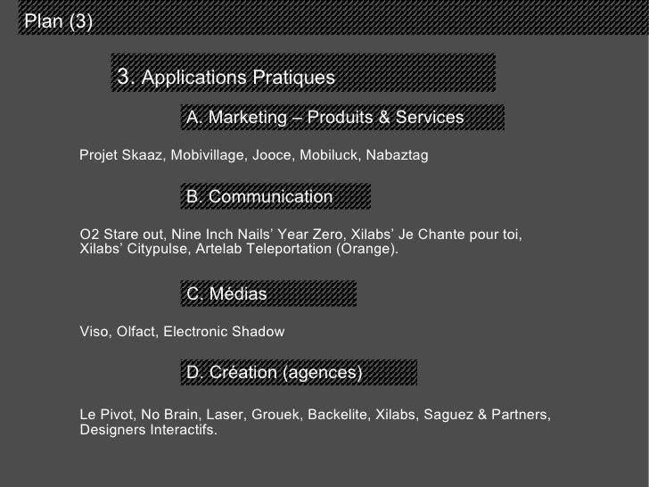 3.  Applications Pratiques Plan (3)  A. Marketing – Produits & Services B. Communication C. Médias D. Création (agences) P...