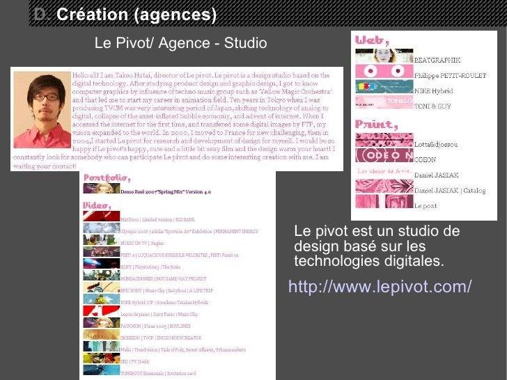 http://www.lepivot.com/ Le Pivot/ Agence - Studio D.  Création (agences) Le pivot est un studio de design basé sur les tec...