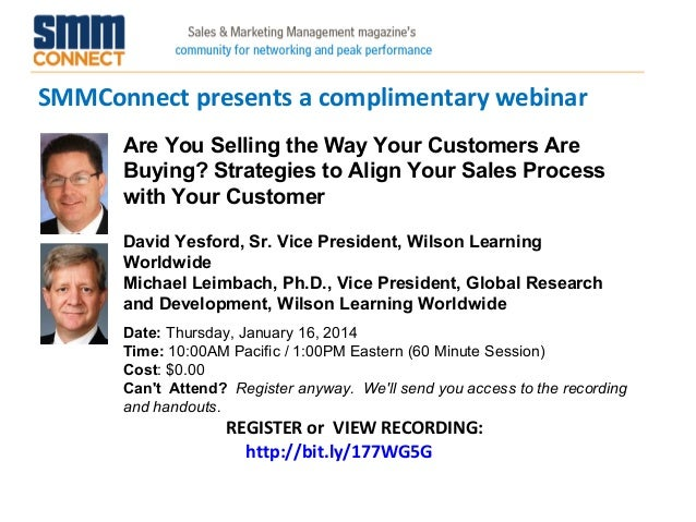 SMMConnect presents a complimentary webinar REGISTER or VIEW RECORDING: http://bit.ly/177WG5G Are You Selling the Way Your...