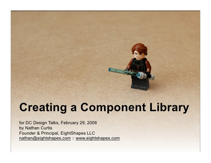 Creating a Component Library for DC Design Talks, February 29, 2008 by Nathan Curtis Founder & Principal, EightShapes LLC ...
