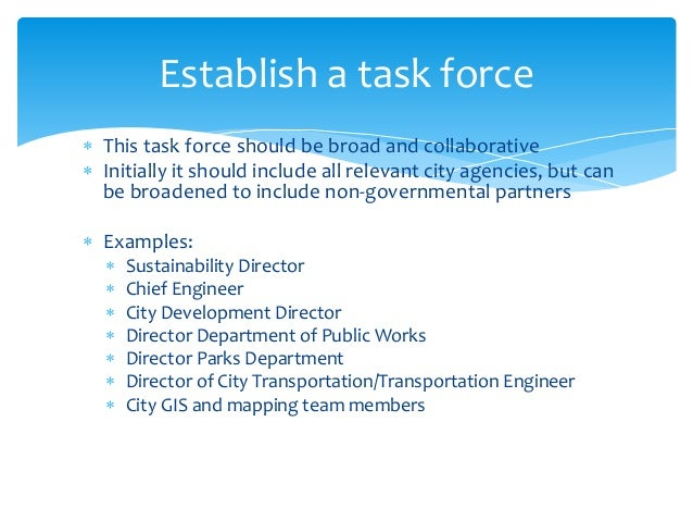  This task force should be broad and collaborative  Initially it should include all relevant city agencies, but can be b...