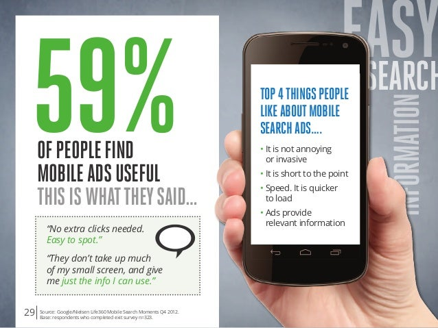 """EASYSearch INformation ofpeoplefind mobileadsuseful Thisiswhattheysaid… 59% """"No extra clicks needed.  Easy to spot."""" """"The..."""