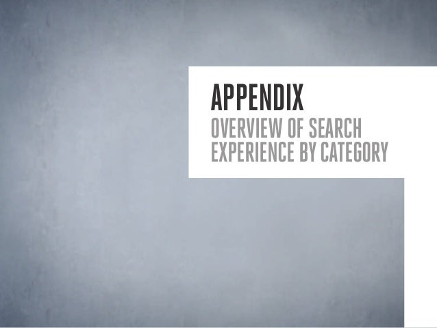 Appendix Overviewofsearch experiencebycategory